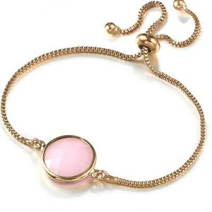 Pink Crystal Quartz Adjustable Gold Bracelet